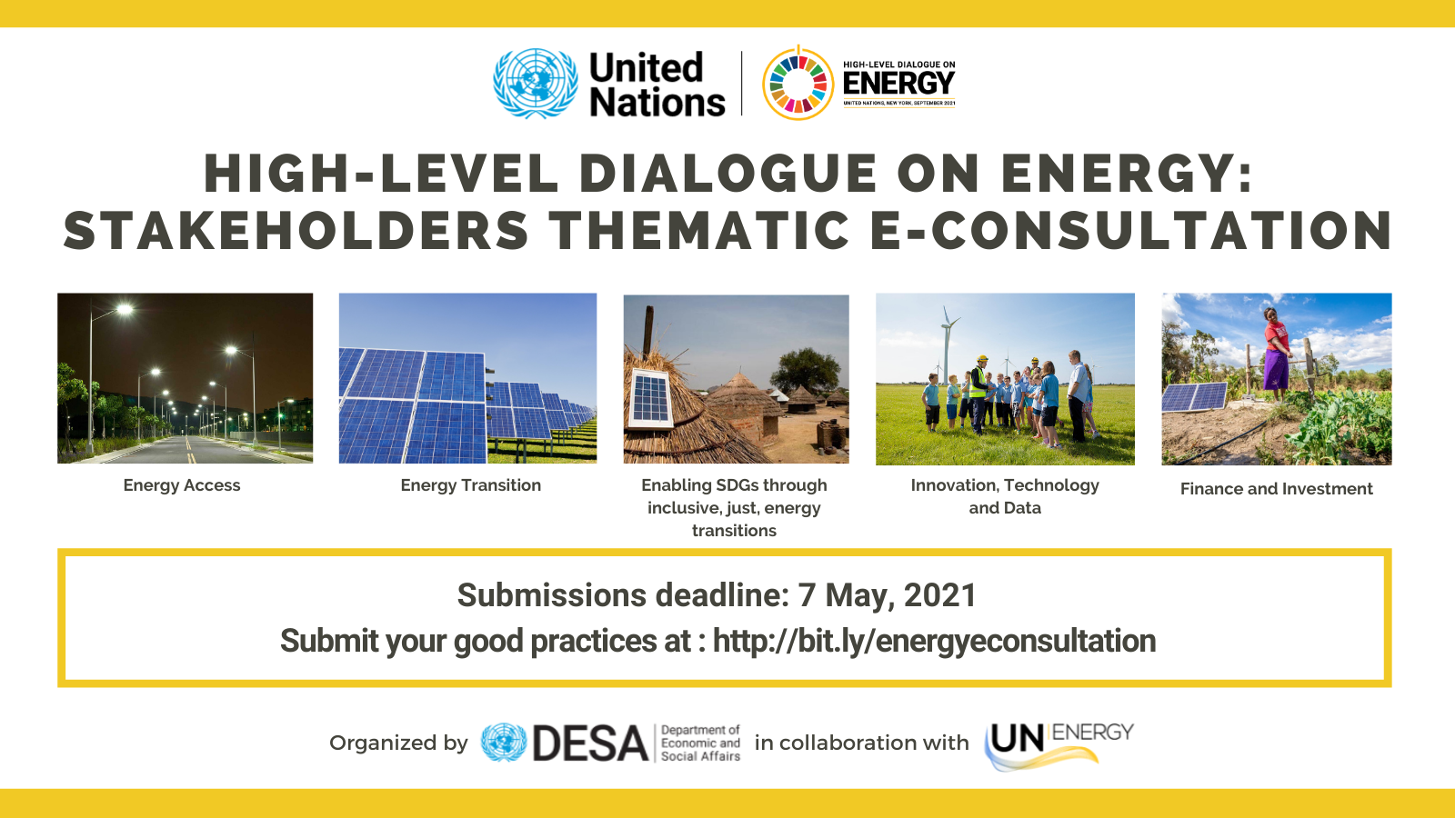 Digital card showing the 5 themes of the High Level Dialogue on Energy