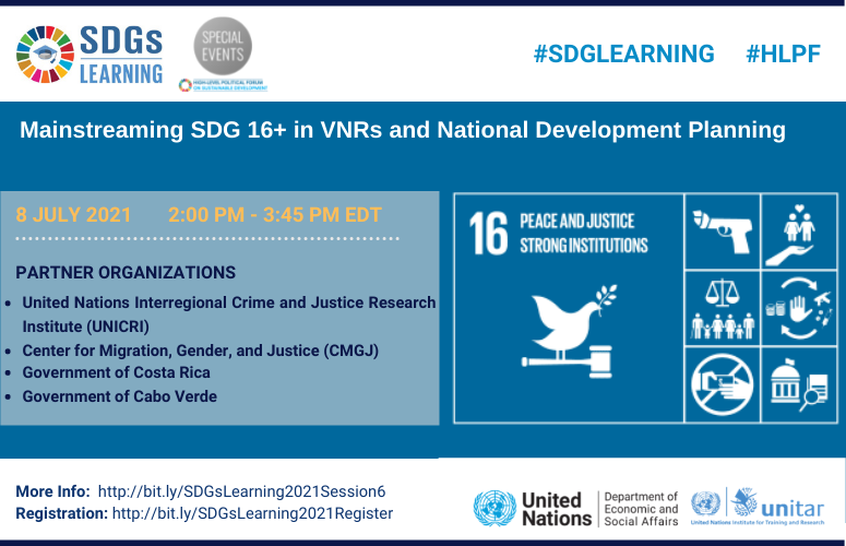 Mainstreaming SDG16+ in VNRs