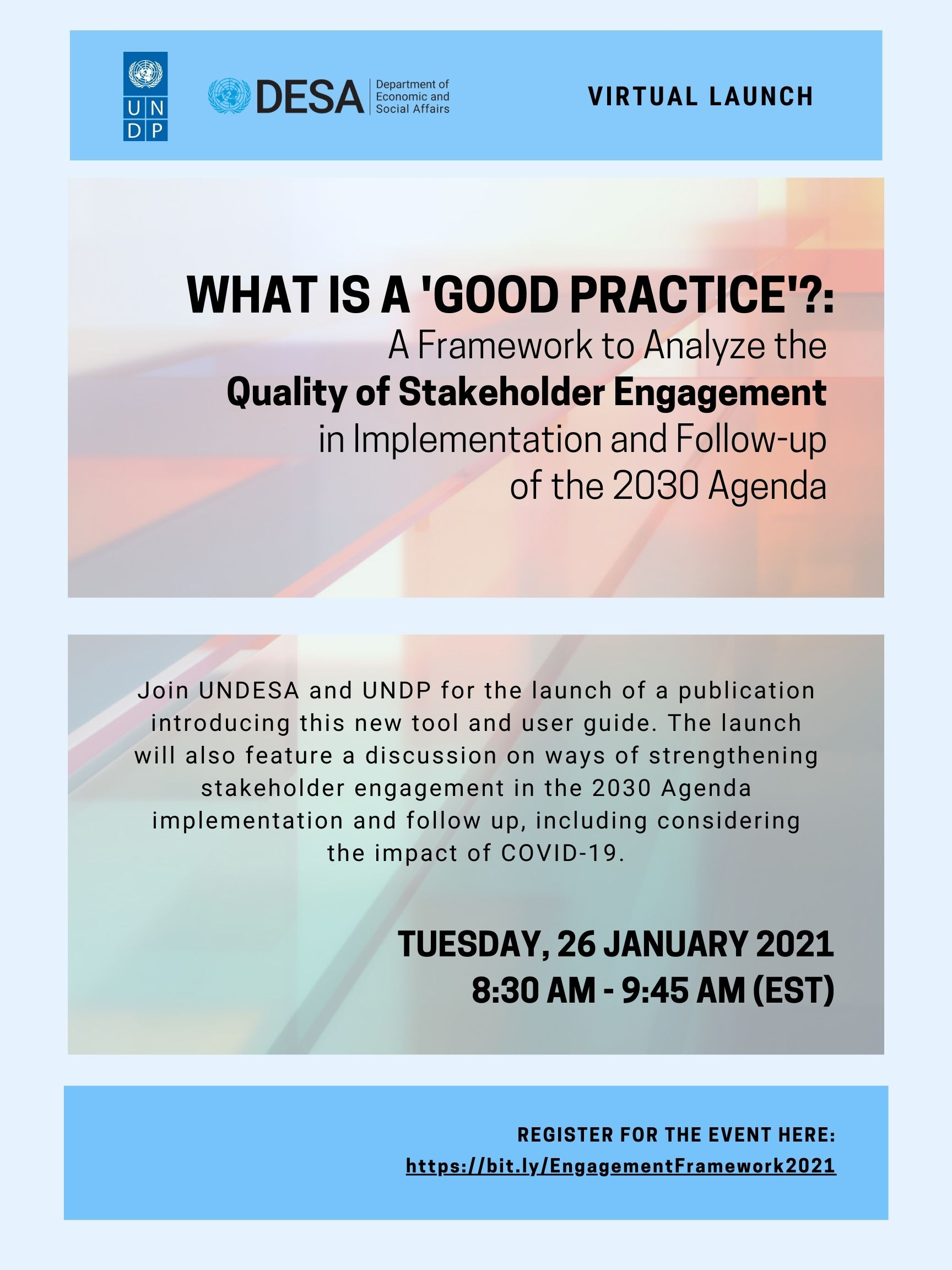 Virtual Launch Event Flyer - Join us on Tuesday, 26 January, 2021 from 8:30-9:45 AM (EST)