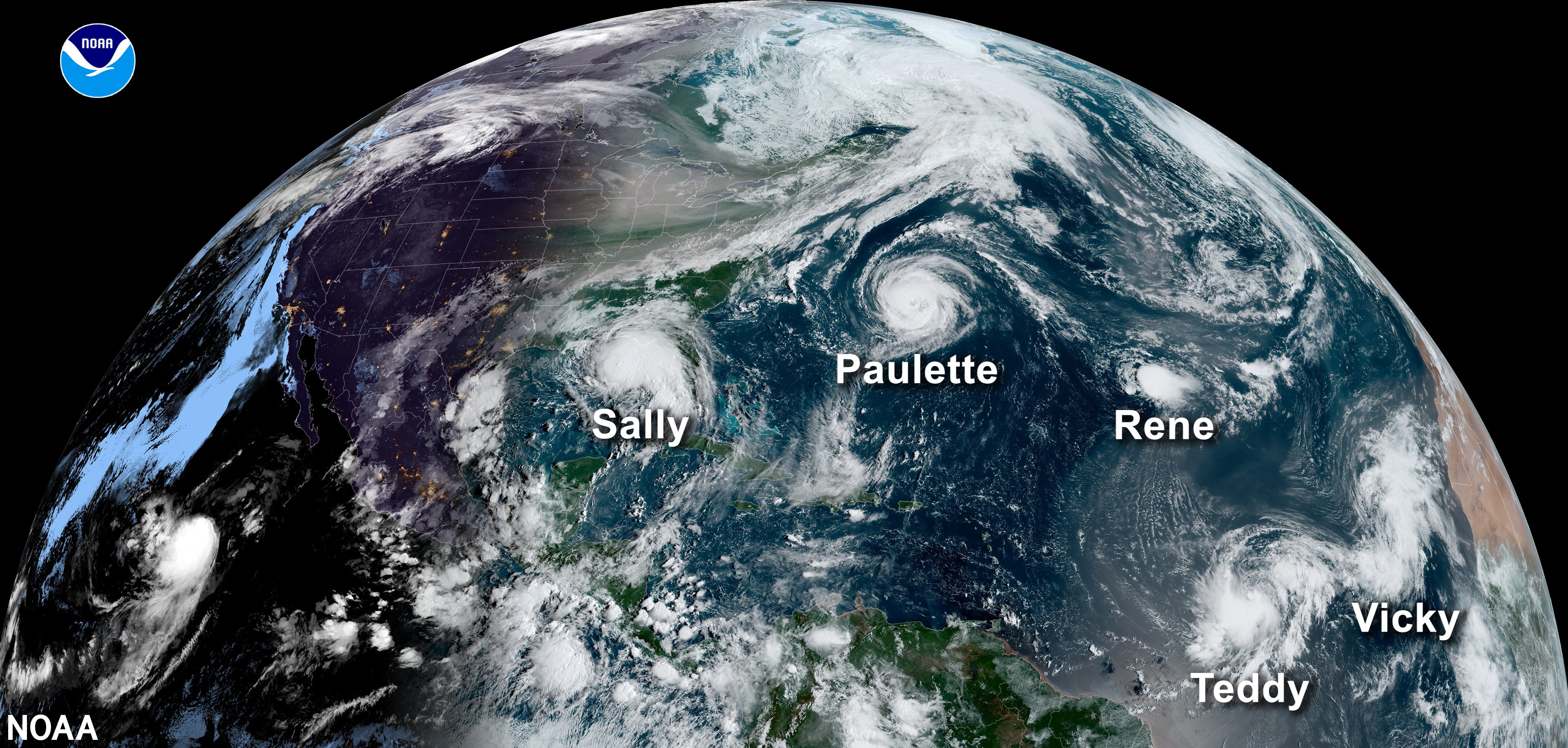 Figure 2. On September 14th, 2020, this satellite image captured 5 tropical systems (2 Hurricanes and 3 Tropical storms) in the Atlantic Ocean at the same time. September 2020 experienced the formation of a total of 10 named storms – the highest number for any month on record according to NOAA.